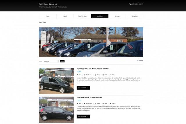 North Denes Garage - Website Features