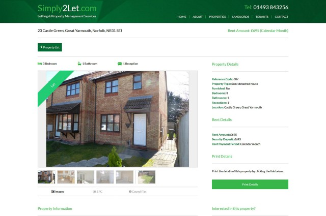 Simply 2 Let - Website Features